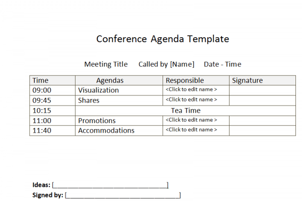 Sample Business Conference Agenda template – Sample Agenda Format