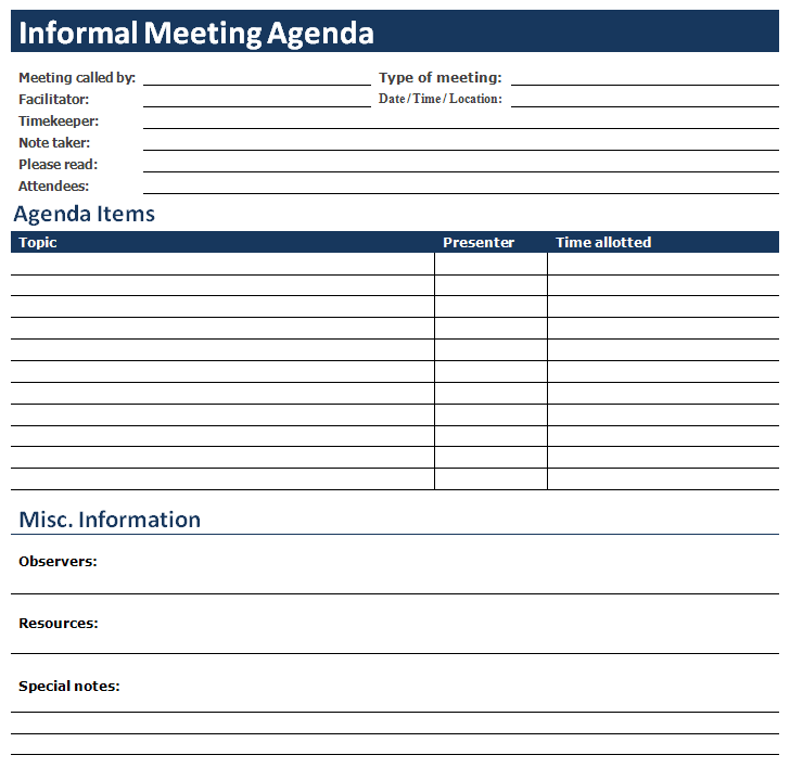 MS Word Informal Meeting Agenda – Template for Agenda for Meeting