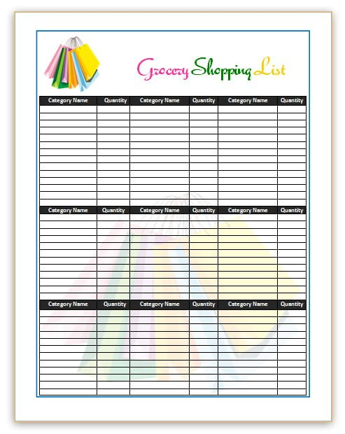 Grocery Shopping Template – Example Grocery List