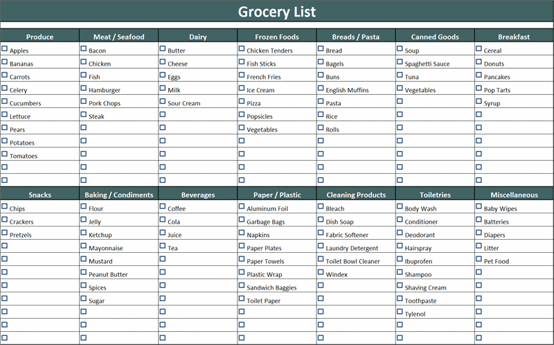 Grocery List With Check Marks  Grocery List Organizer Template