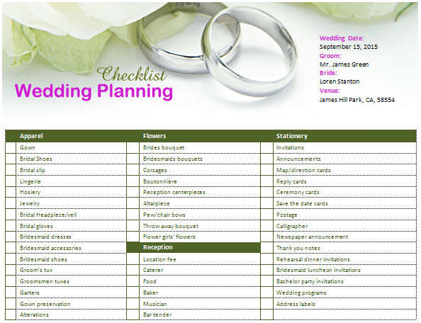 Wedding planning checklist for small wedding veenvendelbosch for Office planner online