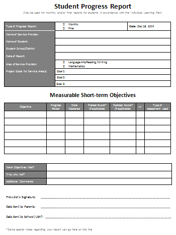 Student Progress Report  Progress Report Template For Students