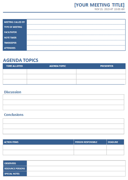 MS Word Meeting Minutes template – Free Sample Minutes of Meeting Template