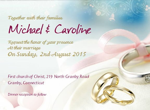 Wedding Invitation with Sample Wording – Microsoft Office Invitation Templates Free Download