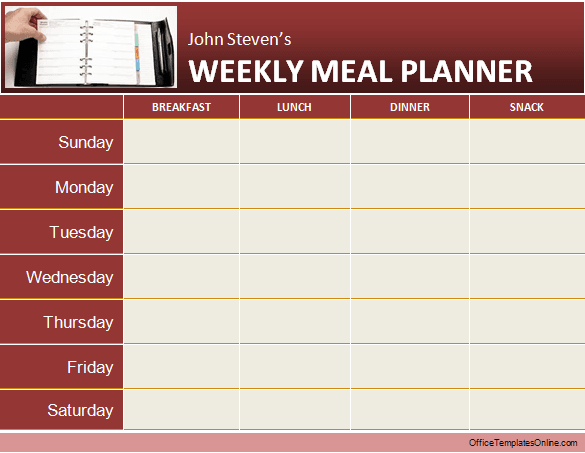 Daily Weekly MS Word Planner Templates – Diet Menu Template