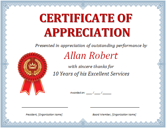 word certificate of appreciation template