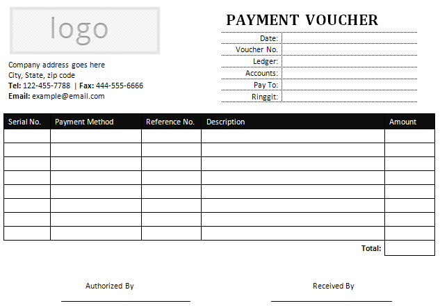 Sample Payment Voucher for MS Word – Sample Payment Voucher Template