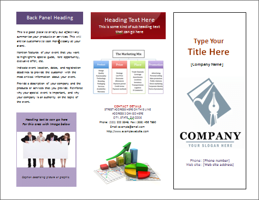 Ms Word Tri-Fold Pamphlet Pamphlet | Office Templates Online