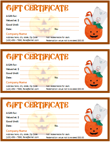 Halloween Gift Certificate For Microsoft Word  Microsoft Office Gift Certificate Template