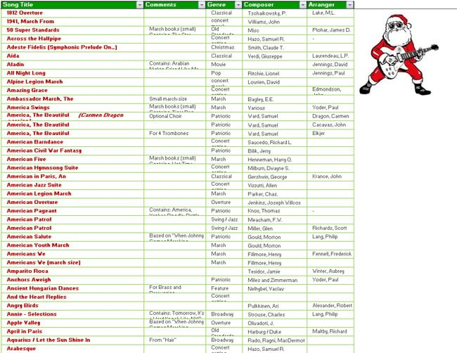 Download Excel Christmas 1000 Songs List