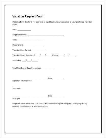 Vacation Request Form 2 Throughout Leave Request Form Template