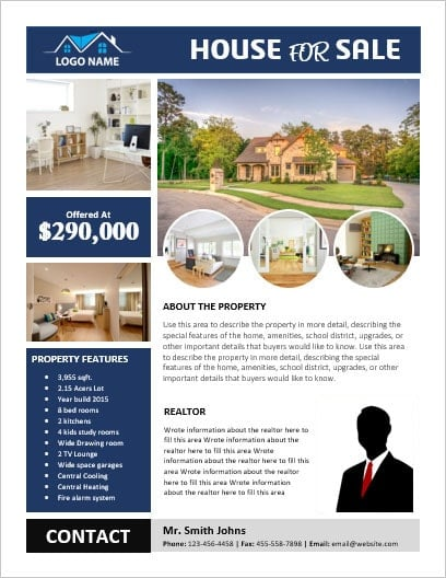 ms word house for sale flyer with pictures office templates online. Black Bedroom Furniture Sets. Home Design Ideas