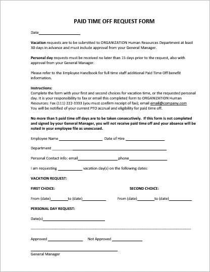Employee Vacation/Leave Request and PTO Forms | Office Templates ...