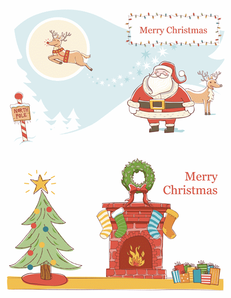 Christmas card Template with Santa and Christmas Tree Art Work
