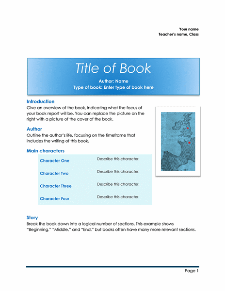 Sample School book report Template