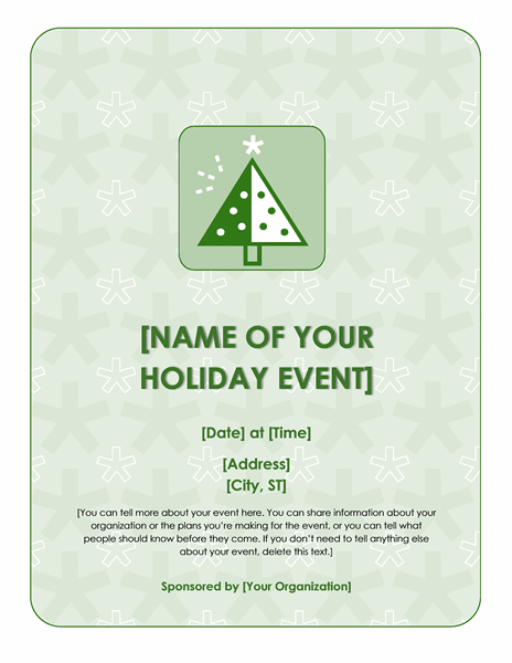 Holiday Flyer Template with Snowflakes in Background
