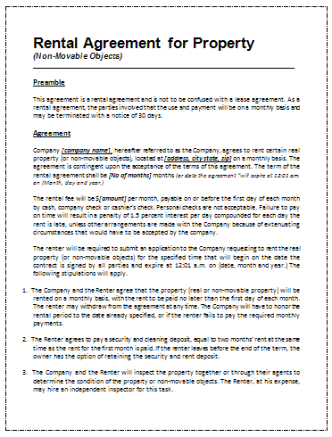 Rental Agreement Template Page 1 ...