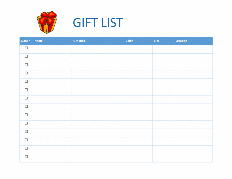 7 shopping list templates office templates online for Birthday gift list template