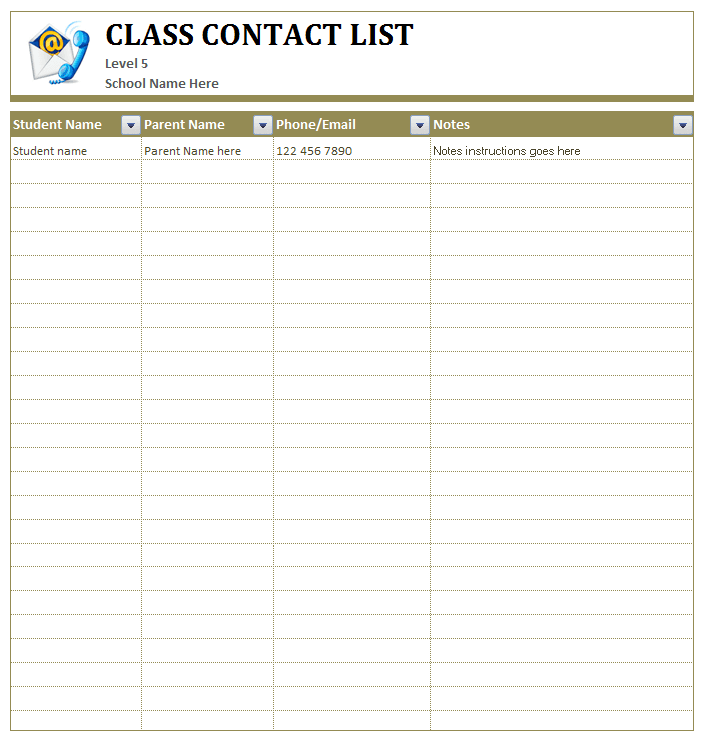 Class Student's Contact List