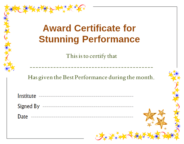 Stars Award Certificate for Performance