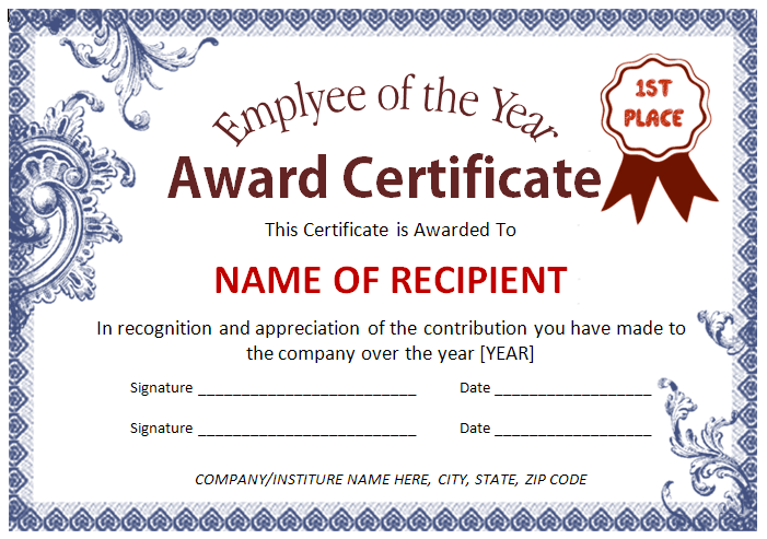 Employee Award Certificate Template – Microsoft Word Award Template