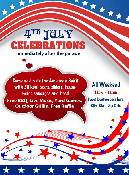 4th july independence day celebrations party flyer office