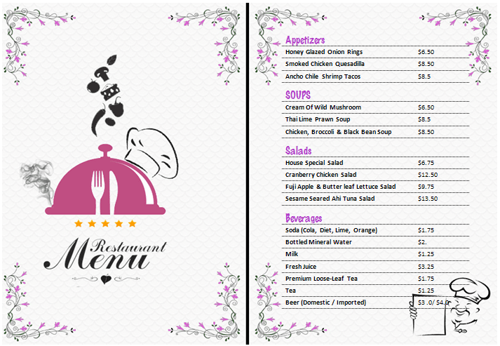 MS Word Restaurant / Food & Drink Menu