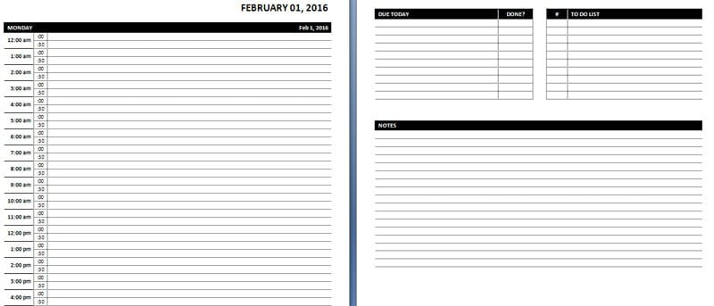 Awesome 24 Hours Daily Planner Template In Ms Word Throughout Day Planner Template Word