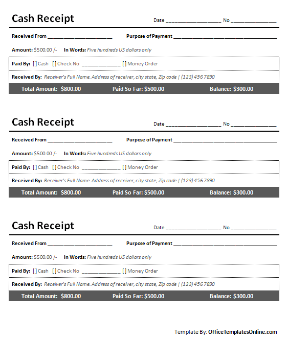 Printable Cash Receipt for MS Word – Microsoft Word Receipt Template Free