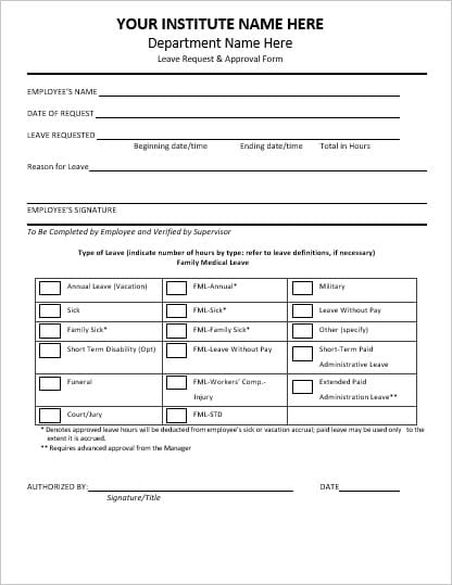 employee vacation  leave request and pto forms