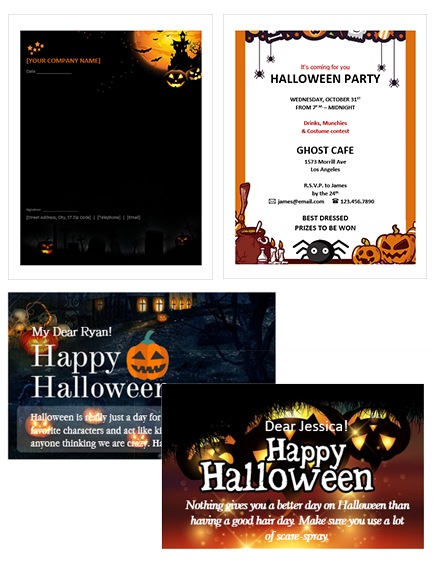 Halloween Invitation, Letterhead and Card Templates