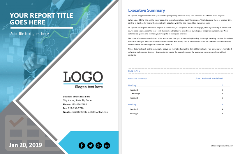 Ms Word Business Report Template Office Templates Online