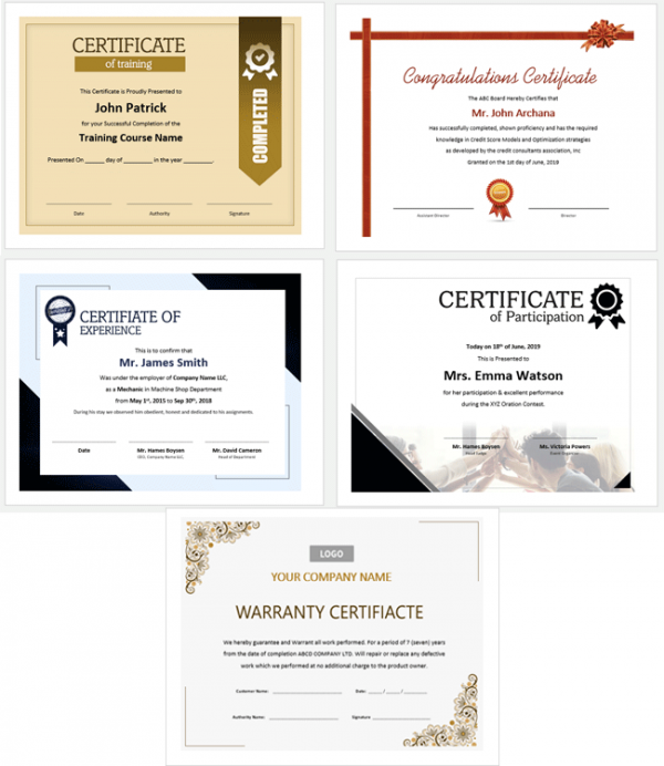 Beautifully Designed Certificate Templates