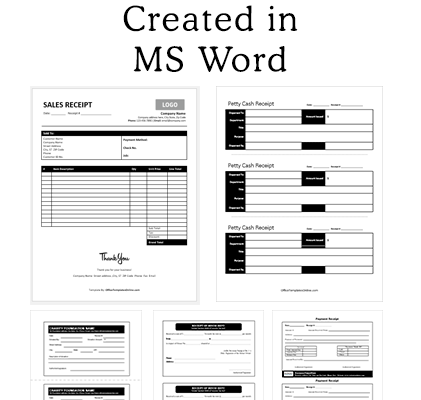 MS Word Receipt Templates