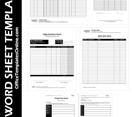 Printable MS-Word Sheet Templates