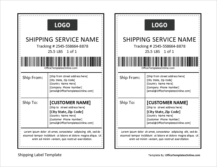 Shipping Label Template from officetemplatesonline.com