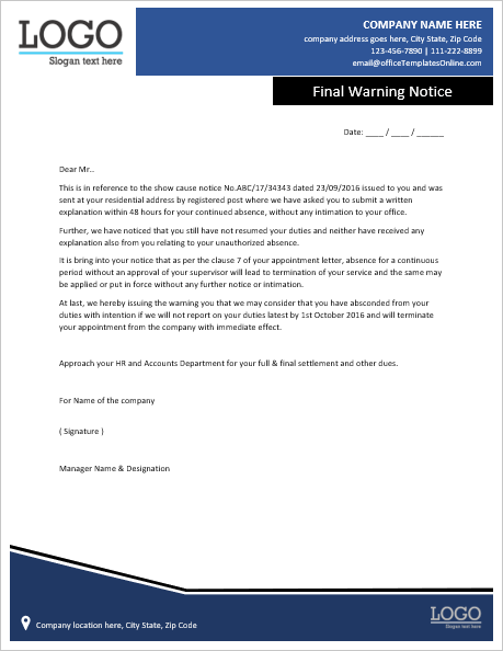 warning-notice-letter-to-employee-for-continues-absence