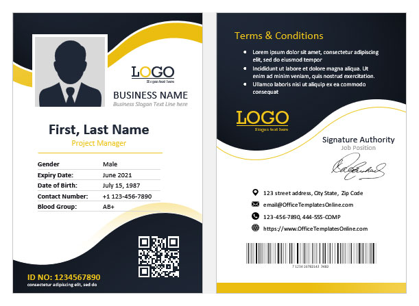 10 Business Id Cards And Employee Badges Templates For Ms Word Office Templates Online
