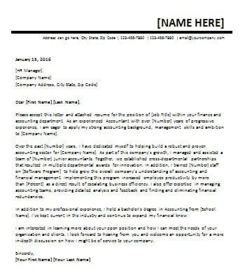 MS Word Accountant Cover Letter