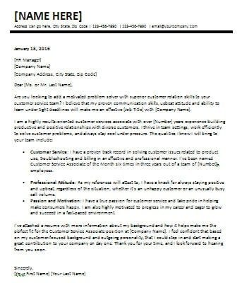 Sample Cover Letter For Customer Service Representative In A Bank