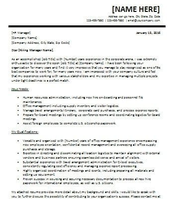 Experienced Cover Letter