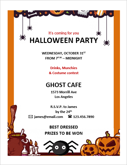 Halloween Invitation Card Template Office Templates Online