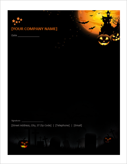 MS Word Halloween Letterhead Template