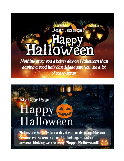 MS Word Happy Halloween Cards for Friends and Family