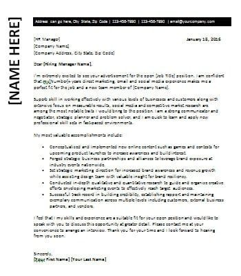 Cover Letter for Marketing Specialist – Office Templates Online
