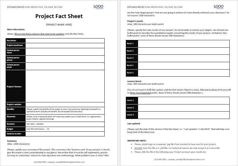 project fact sheet template  office templates online