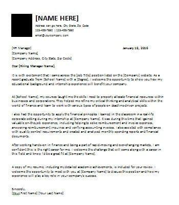 Cover Letter for Recent Graduates