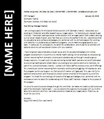Social Worker Assistant Cover Letter