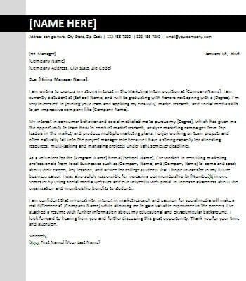 MS Word Student/Intern Cover Letter