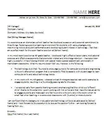 Cover Letter for Teacher